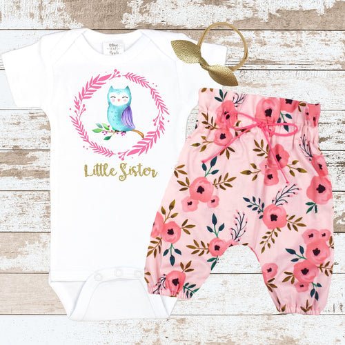 Gold Little Sister OWL Pink Newborn Outfit