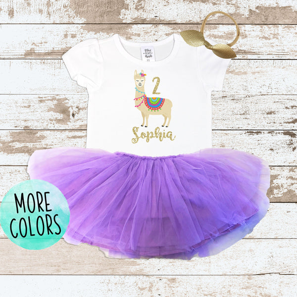 Custom 2nd Birthday Llama Shirt Purple Tutu