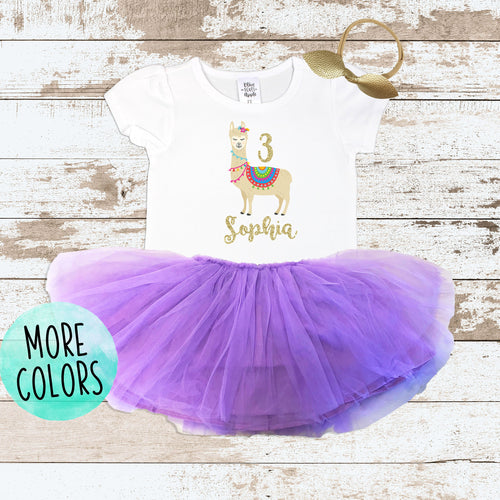 Custom 3rd Birthday Llama Purple Tutu Outfit