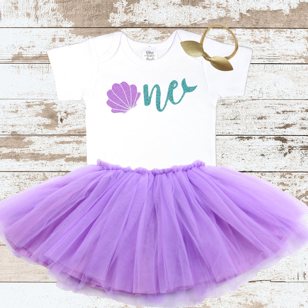 Sea Shell 1st Birthday Bodysuit Purple Tutu Outfit