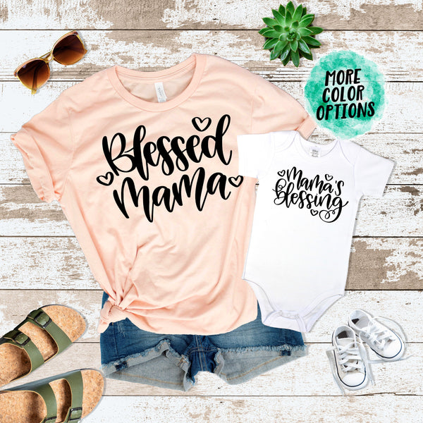 Blessed Mama & Mama's Blessing Matching Tops