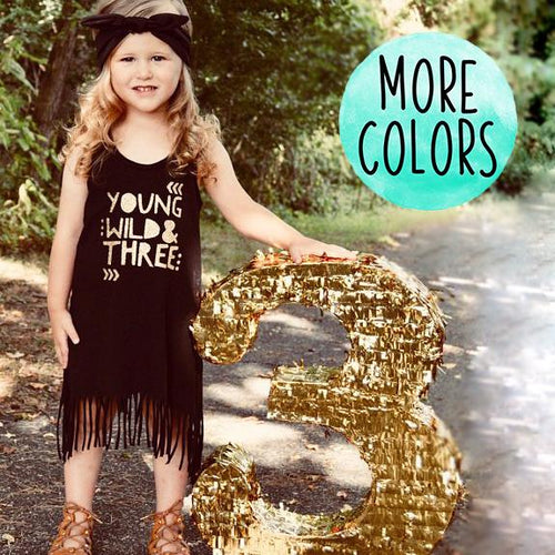 Gold Young Wild & Three Black Fringe Dress