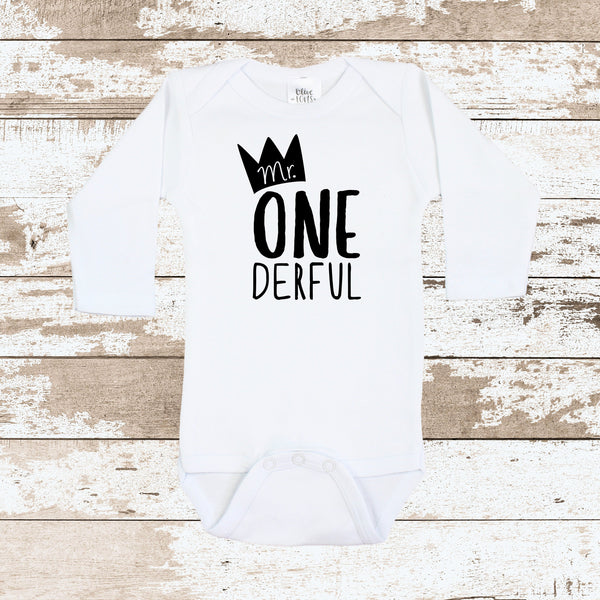 Mr. ONE derful White Bodysuit