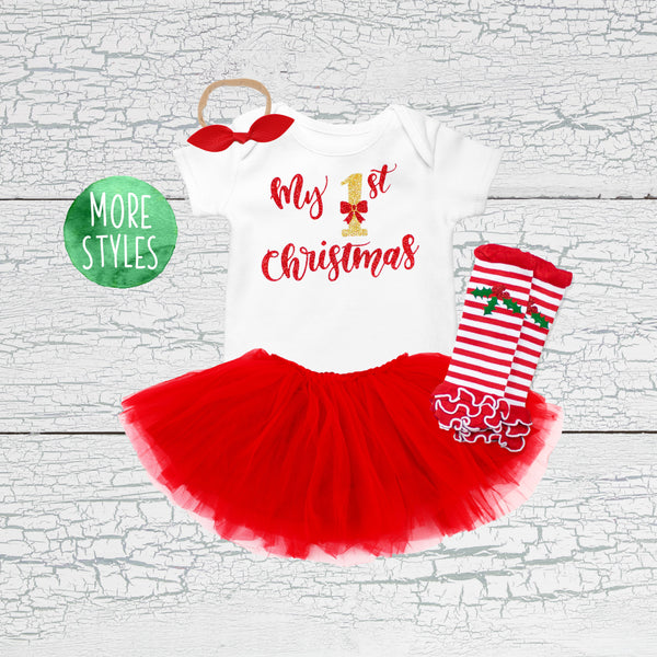 Christmas Tutu Outfits.My First Christmas Girl Tutu Outfit