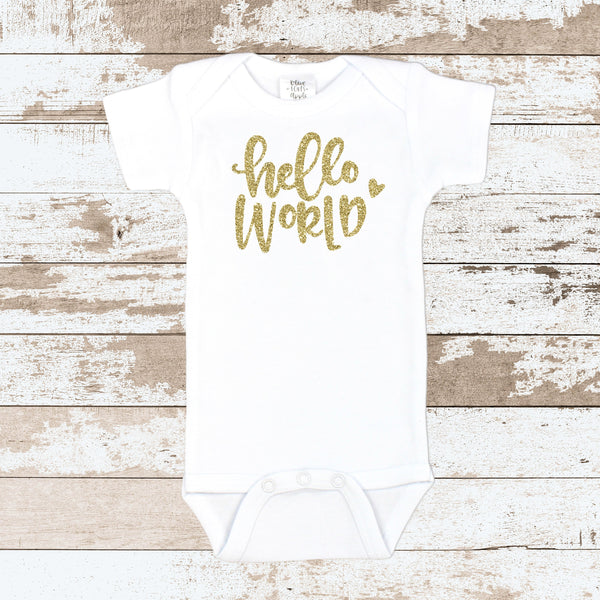 Gold 'Hello World' White Bodysuit