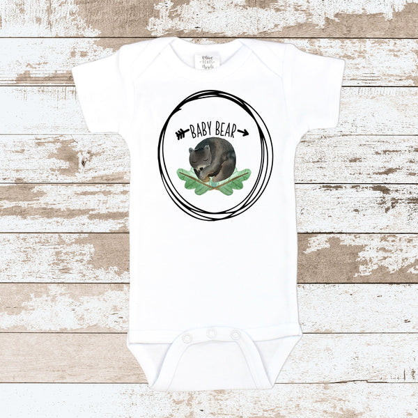 Baby Bear Nap White Bodysuit