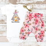 Teepee Fox New To The Tribe Pink Newborn Outfit