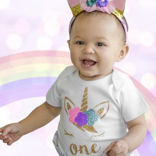 Gold One Unicorn Face White Bodysuit