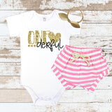 Gold One-derful Pink Shorts Outfit