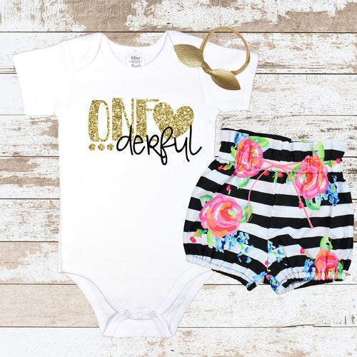 Gold One-derful  Striped Bloomer Outfit