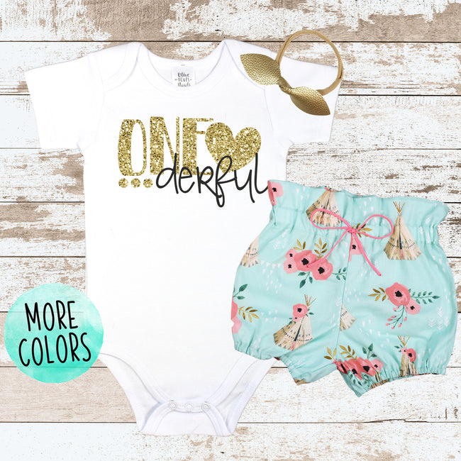 Gold One-derful Teepee  Bloomer Outfit
