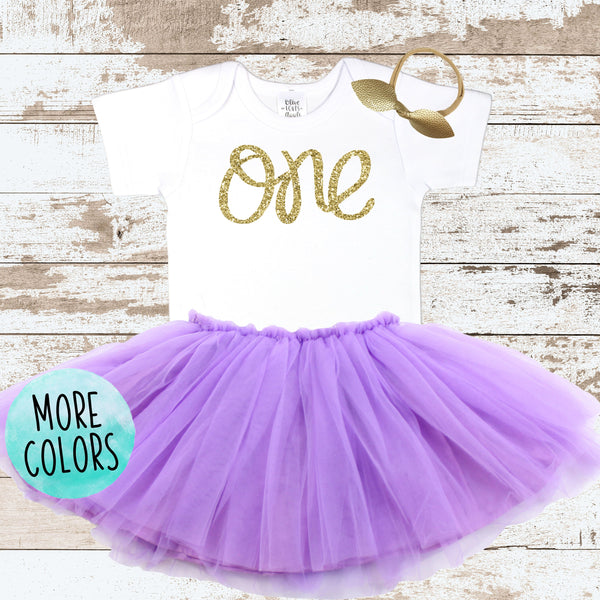 1st Birthday Gold One with Purple Tutu