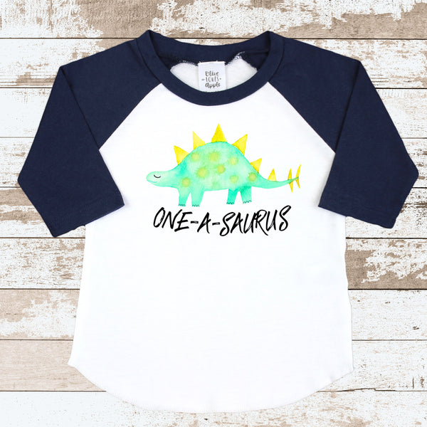 ONE-a-saurus Navy Blue Raglan Shirt