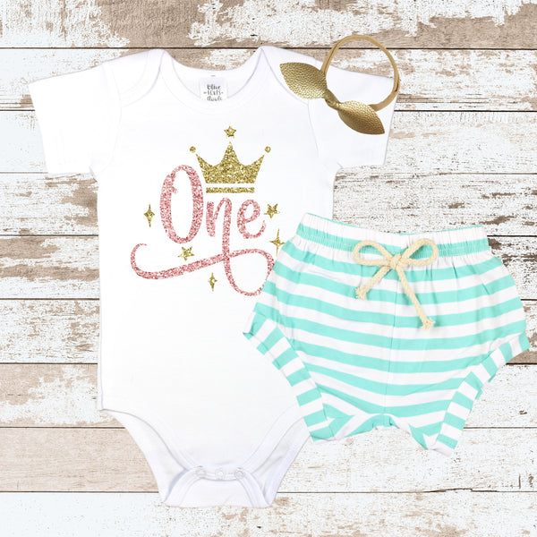 Rose Gold One Crown Mint Shorts Outfit