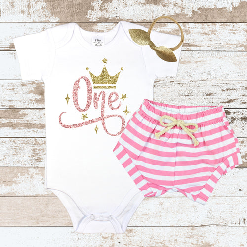 Rose Gold One Crown Pink Shorts Outfit