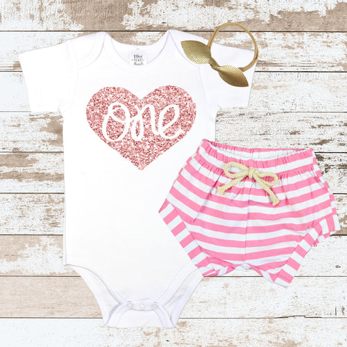 Rose Gold One in Heart Pink Shorts Outfit