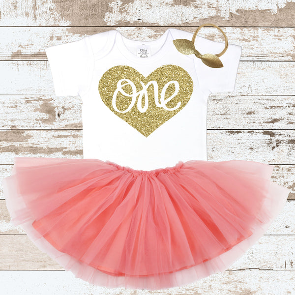 One In Heart Peach Skirt Outfit