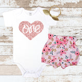 Rose Gold One Pink Floral Bloomers Outfit