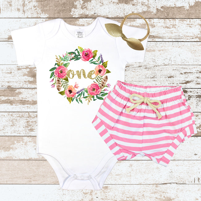 Gold One in Wreath Pink Shorts Outfit