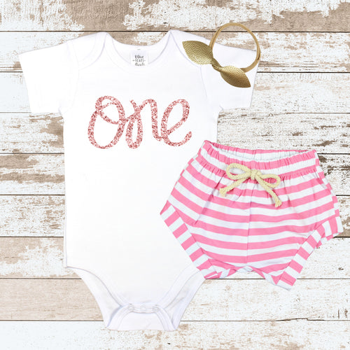 Rose Gold One Pink Shorts Outfit