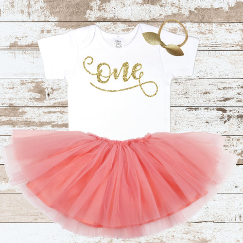 Gold One Peach Tutu Outfit