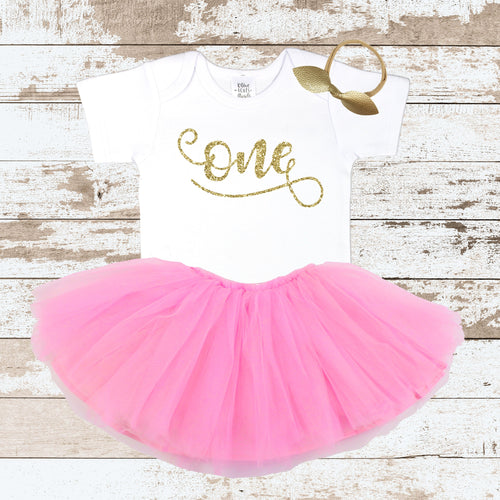 Gold Cursive One with Pink Tutu