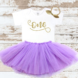 Gold Cursive One with Purple Tutu