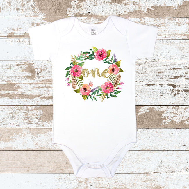 Gold One in Wreath White Bodysuit