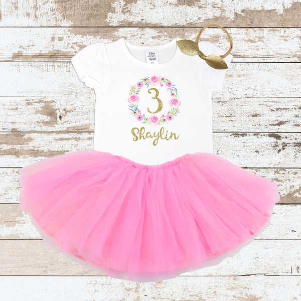 Custom Pink Wreath 3 Pink Tutu Outfit