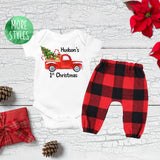 Custom First Christmas Tree Truck Boy Outfit