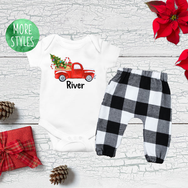 Custom Christmas Truck Boy Outfit