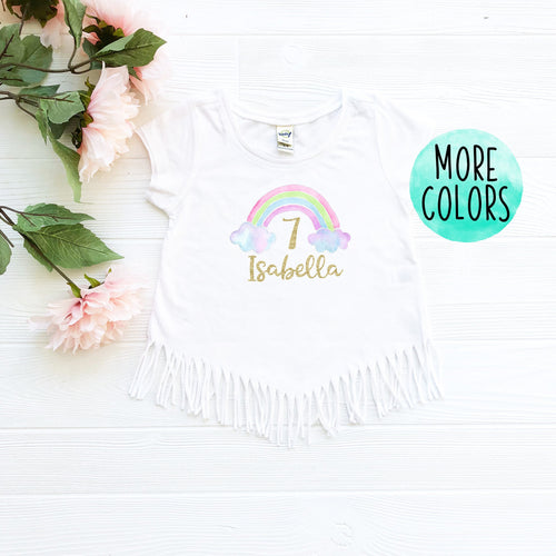 Custom Rainbow 7 Fringe Shirt