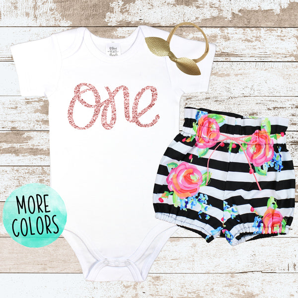 Rose Gold One Striped Bloomers Outfit