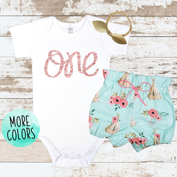 Rose Gold One Teepee Bloomers Outfit