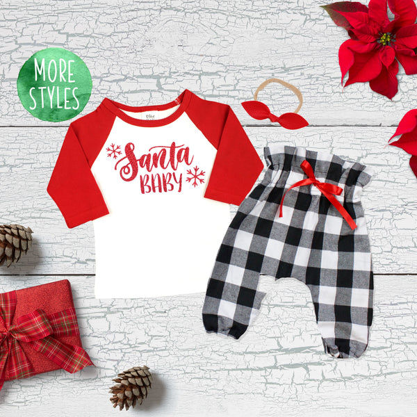 2bb22620e21f Santa Baby Christmas Girl Outfit – Olive Loves Apple