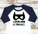 Superhero In Training  Navy Raglan Shirt