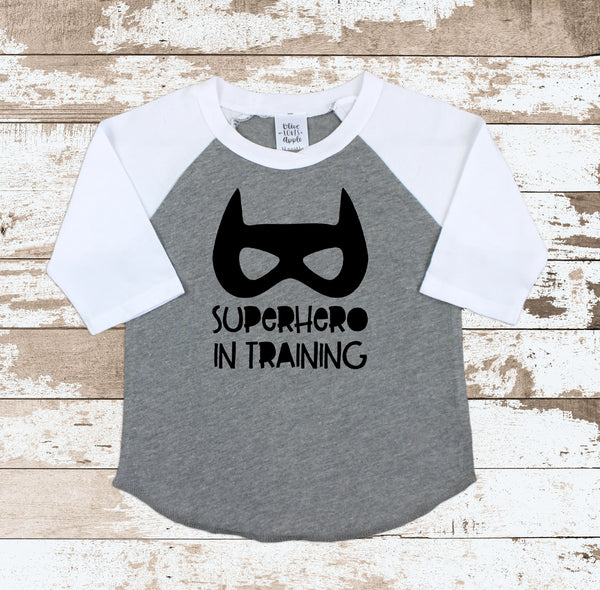 Superhero In Training  Gray Raglan Shirt