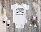 Surprise you're going to be Grandparents! Pregnancy Reveal White Bodysuit