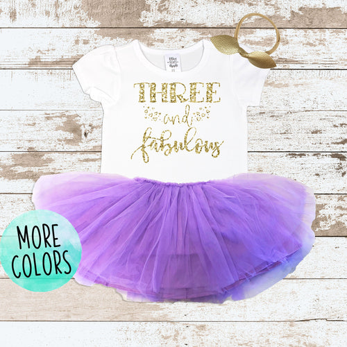 Gold Three & Fabulous Purple Tutu Outfit