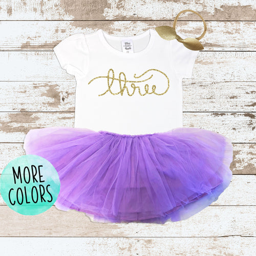 Gold Cursive Purple Tutu Outfit