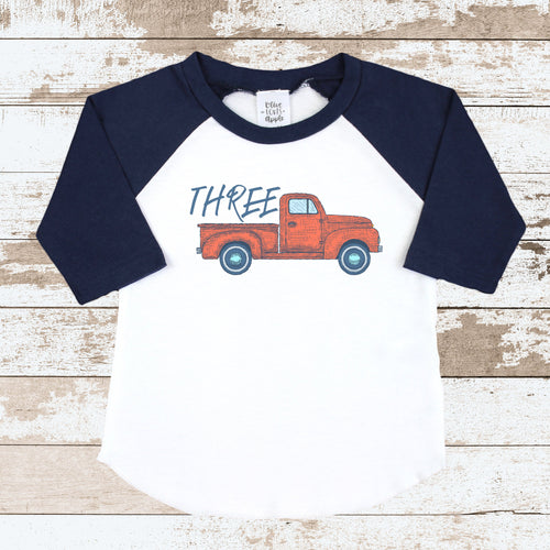 Three Truck Navy Raglan