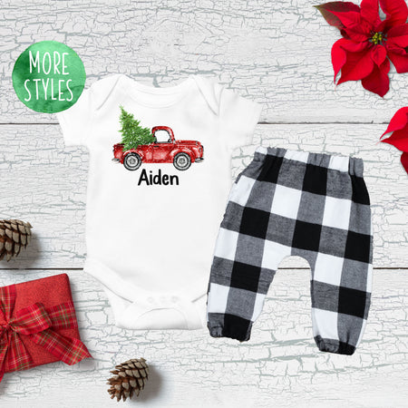 Custom Plaid Deer Christmas Boy Outfit
