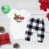 Custom Christmas Tree Truck Boy Outfit