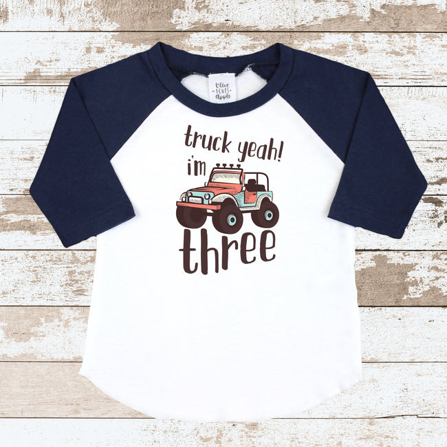 Truck Yeah I'm Three Navy Raglan