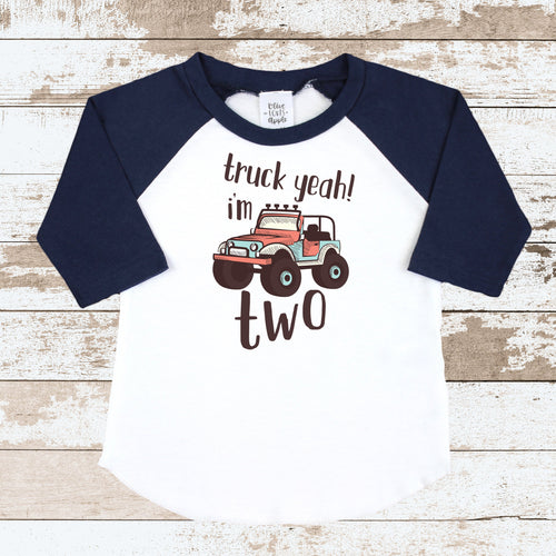 Truck Yeah I'm Two Navy Raglan
