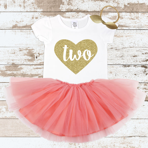Gold Two In Heart Peach Tutu Outfit