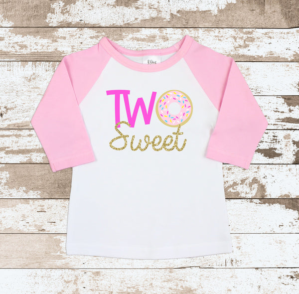 Pink Two Sweet Donut White Tops