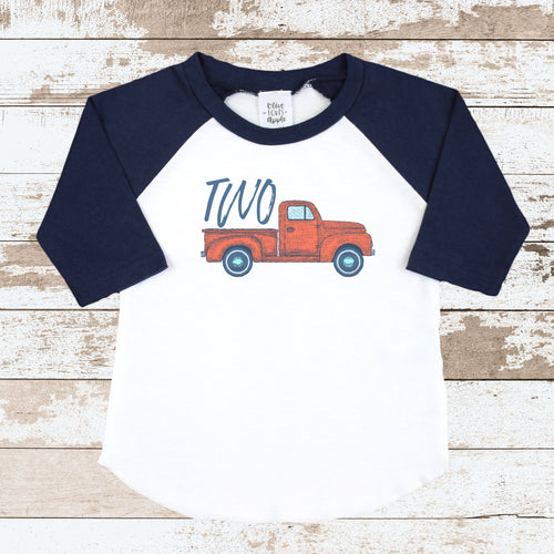 Two Truck Navy Raglan