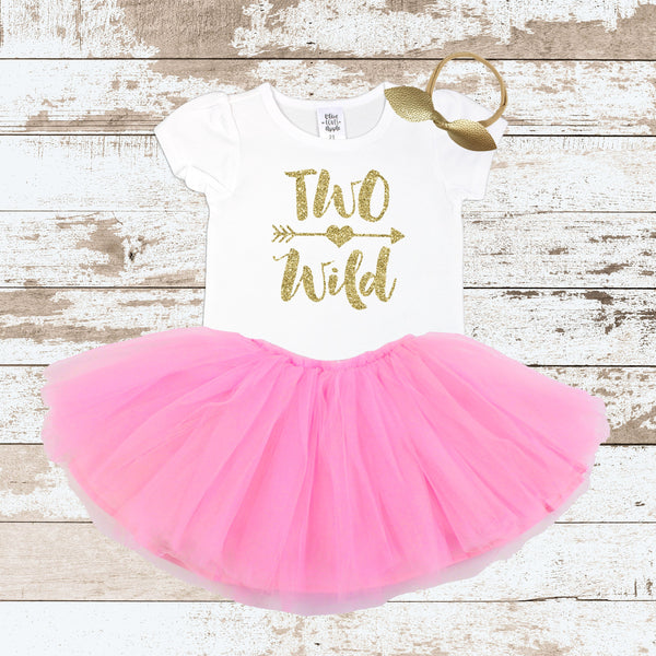 Gold Two Wild Pink Tutu Outfit