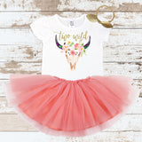 Gold Two Wild Bull Skull Peach Tutu Outfit